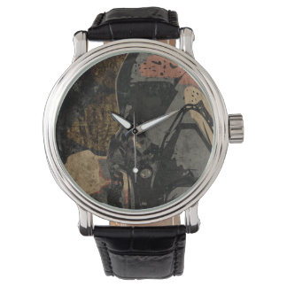 Man with protective mask on dark metal plate wrist watches