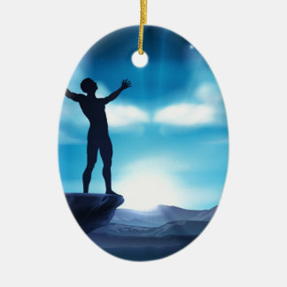 Man With Raised Arms Concept Ceramic Ornament