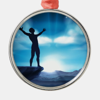 Man With Raised Arms Concept Metal Ornament