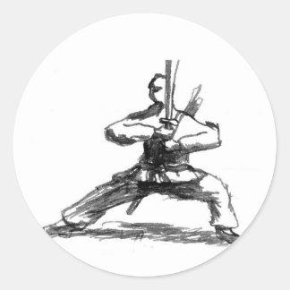 Man With Sword Classic Round Sticker