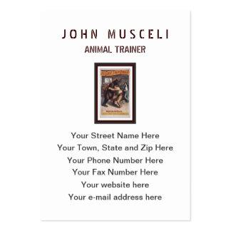 Man Wrestles Bear - Vintage Lithograph Business Cards