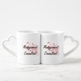 Management Consultant Artistic Job Design with Hea Lovers Mug Set