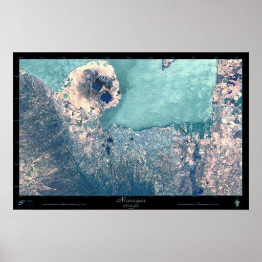 Managua, Nicaragua Satellite Poster