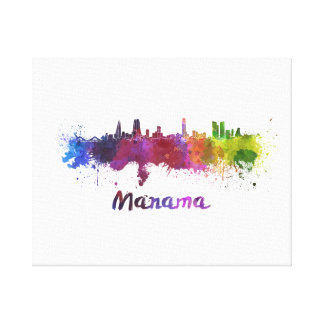 Manama skyline in watercolor canvas print