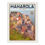 Manarola Vineyard Sunset (white) Post Card