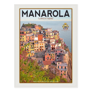Manarola Vineyard Sunset (white) Postcard