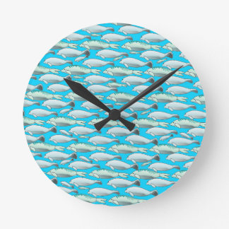 Manatee and Dugong pattern in blue Clock