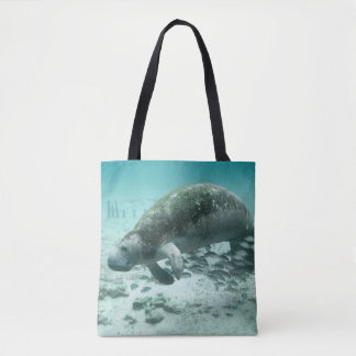 Manatee And Fish Tote Bag
