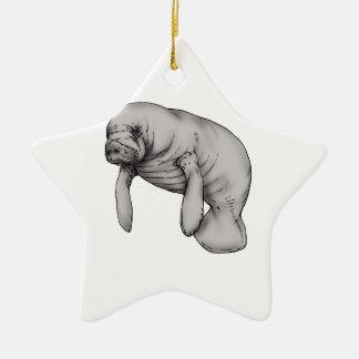 manatee art ceramic ornament