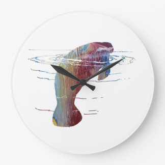 Manatee art large clock