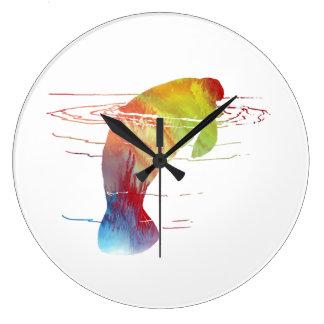 Manatee art large clock