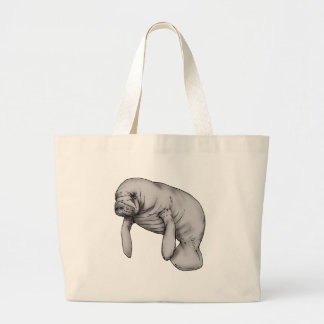 manatee art large tote bag