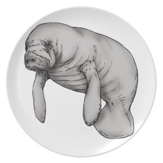 manatee art party plate