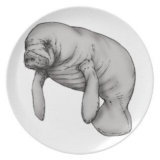 manatee art plate
