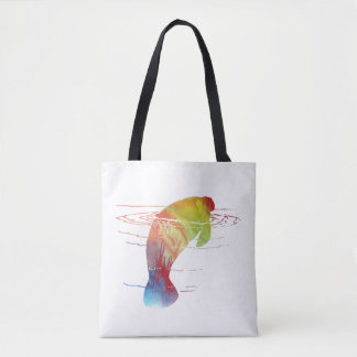 Manatee art tote bag
