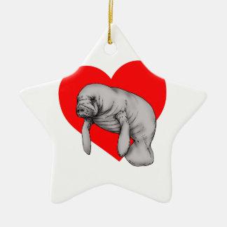 manatee love ceramic ornament