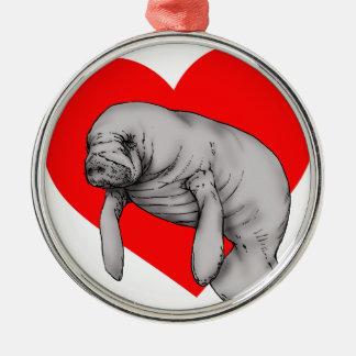 manatee love metal ornament