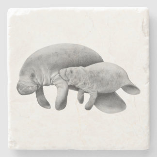Manatee Mother with Calf Stone Coaster