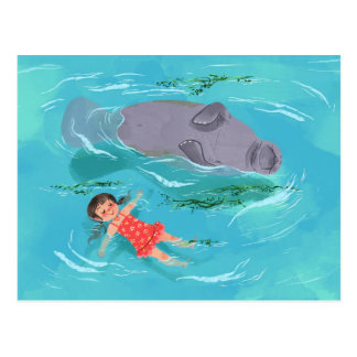 Manatee play time postcard