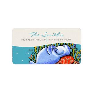 Manatee Sea Turtle Fishes Sea Blue Label