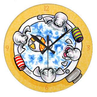 Manatees Hot Tub Fun Off-Leash Art™ Large Clock