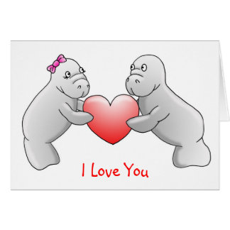 Manatees I Love You greeting card