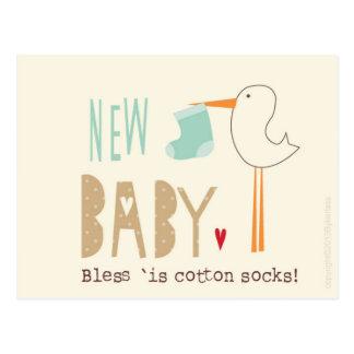 Manc Card - New Baby Boy Bless 'is cotton socks Postcard