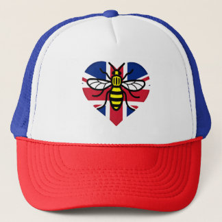 Manchester Bee and Union Jack Heart Solidarity Trucker Hat