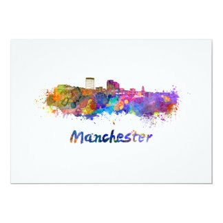 Manchester NH skyline in watercolor Card