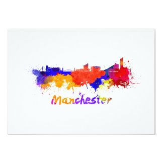 Manchester skyline in watercolor card