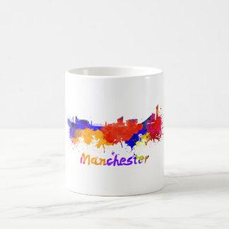 Manchester skyline in watercolor coffee mug