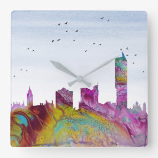 Manchester Skyline Square Wall Clock