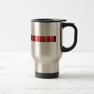 Manchester sporting red white and black bar scarf travel mug