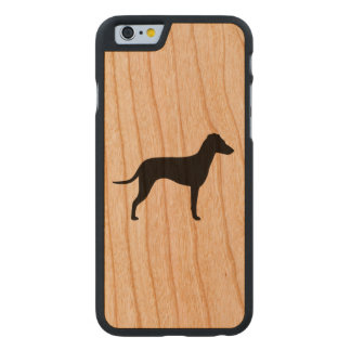 Manchester Terrier Silhouette - Natural Ears Carved Cherry iPhone 6 Case