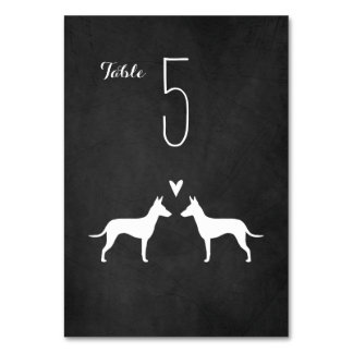 Manchester Terrier Silhouettes Wedding Table Card