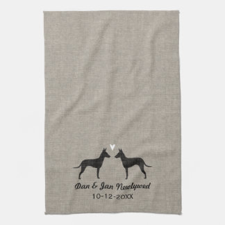 Manchester Terrier Silhouettes with Heart and Text Tea Towel