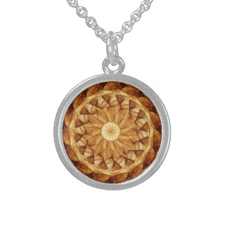 Mandala 001 in Amber Brown Sterling Silver Necklace