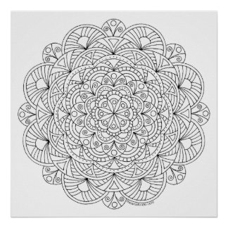 Mandala 010617 Adult Coloring Doodle Color This Poster