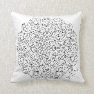 Mandala 010617 Color This Monogram Reversible Cushion