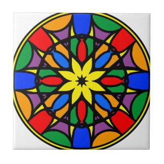 Mandala 11  dream catcher coloer version small square tile