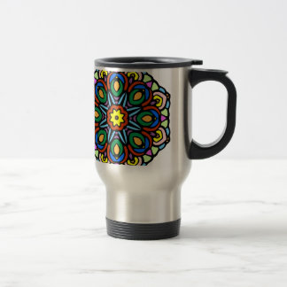 Mandala 6 candle flower color version travel mug