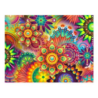 Mandala Abstract Spiritual Psychedelic Trippy Postcard