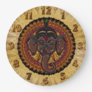 Mandala Adorable Elephant Metallizer Large Clock
