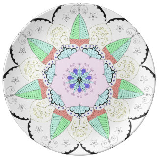 Mandala Art Patterns Designs Flower Floral Yoga om Plate