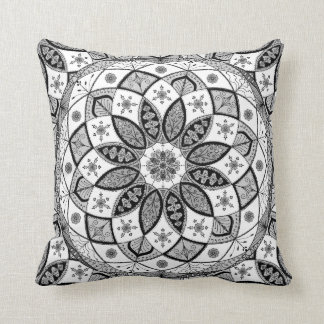 Mandala B&W Drawing Doodling Pattern Art pillow