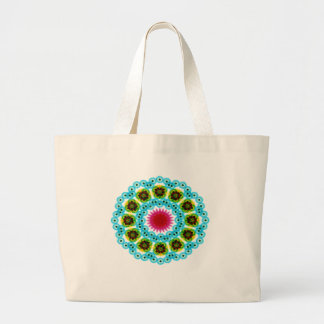 mandala blue flower large tote bag