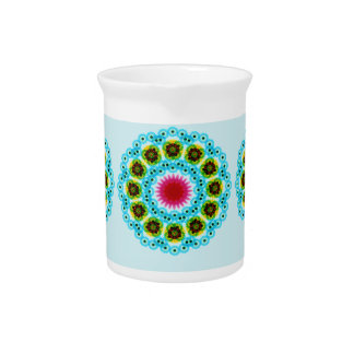 mandala blue flower pitcher