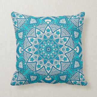 Mandala Blue tile pattern Cushion