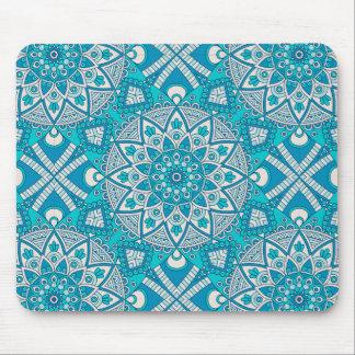 Mandala blue tile pattern mouse pad