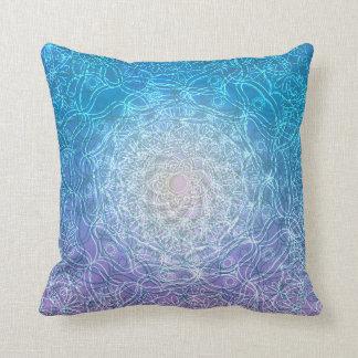 Mandala Blue Violet Reflection Throw Pillow